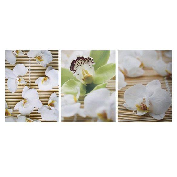 Fehér orchideák, 3 részes falikép, falmatrica szett