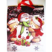 Hóember csillámos karácsonyi ajándéktáska, L méret a Dekormatricák webáruháztól