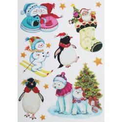 Hóemberek pingvinekkel, csillámos ablakmatrica Karácsonyra - Dekormatricák webáruház