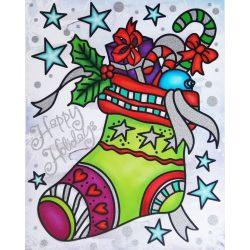 Ajándékok, csillámos ablakmatrica karácsonyra a Dekormatricák webáruházban