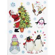 Pingvin, hóember, Mikulás, csillámos karácsonyi ablakmatrica - Dekormatricák webáruház