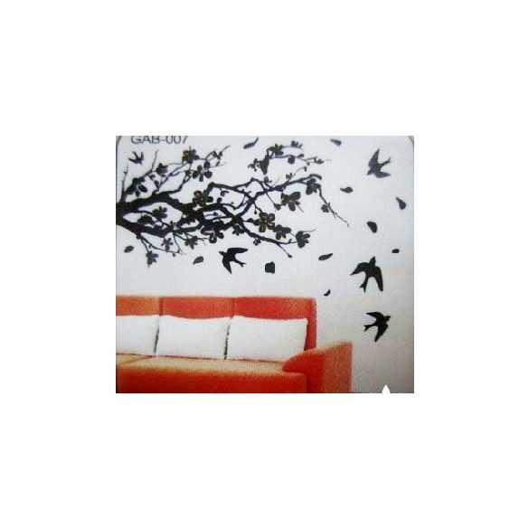 Fekete virágos ág madarakkal