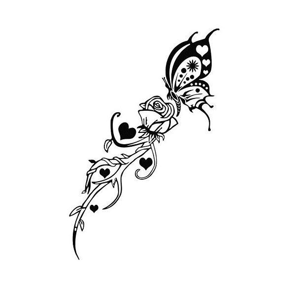 Rózsaszál pillangóval