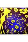 Lány virágokkal, éjjel világító falmatrica