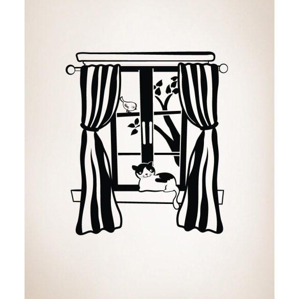 Cica az ablakban, falmatrica a Dekormatricák falmatrica webáruházban