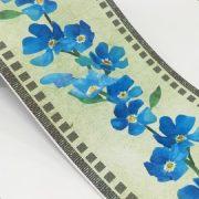 Kék virágmintás öntapadós bordűr