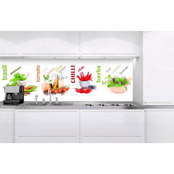 Fűszerek, konyhai matrica hátfal, 180 cm