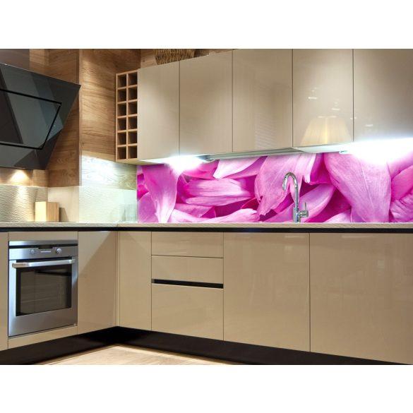 Rózsaszín virágszirmok, konyhai matrica hátfal, 180 cm