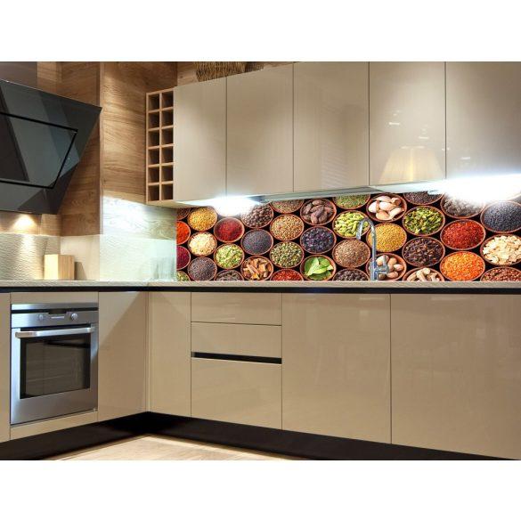 Fűszerek tálkában, konyhai matrica hátfal, 180 cm