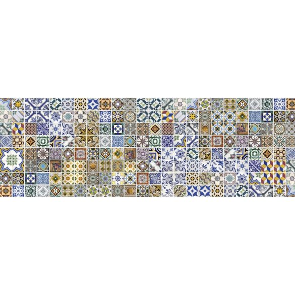 Színes csempeminta, konyhai matrica hátfal, 180 cm