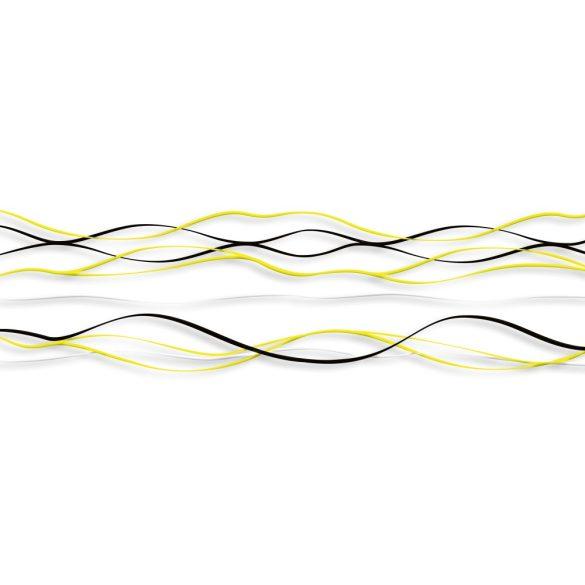 Sárga fekete hullámok, konyhai matrica hátfal, 180 cm