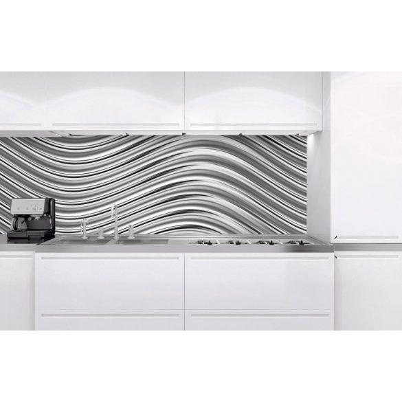 Metálos hullámok, konyhai matrica hátfal, 180 cm