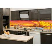 Hajók naplementében, konyhai matrica hátfal, 260 cm