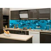Kék buborékok, konyhai matrica hátfal, 260 cm
