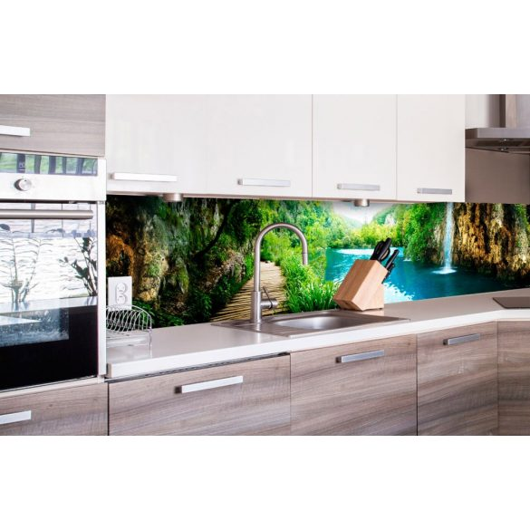 Sziklás vízesések, konyhai matrica hátfal, 260 cm
