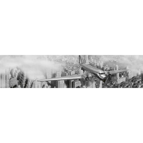 Repülőgép New York felett, konyhai matrica hátfal, 260 cm