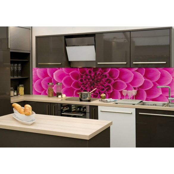 Rózsaszín virág, konyhai matrica hátfal, 260 cm