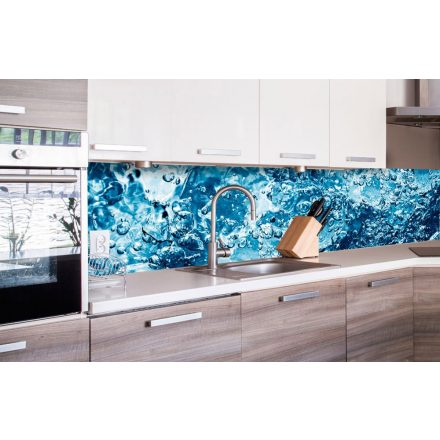 Buborékos víz, konyhai matrica hátfal, 260 cm
