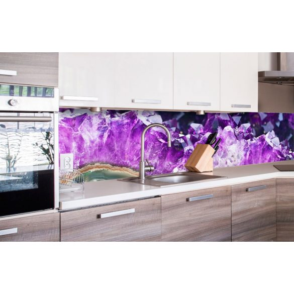 Lila kristályok, konyhai matrica hátfal, 260 cm