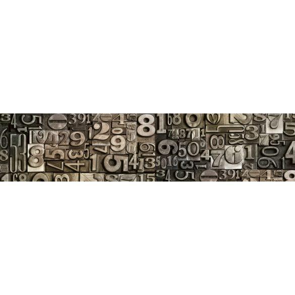 Fém számok, konyhai matrica hátfal, 260 cm