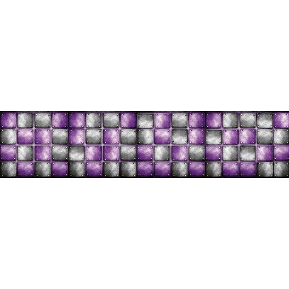 Lila fekete csempék, konyhai matrica hátfal, 260 cm