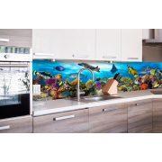 Trópusi akvárium, konyhai matrica hátfal, 260 cm