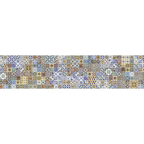 Színes csempeminta, konyhai matrica hátfal, 260 cm