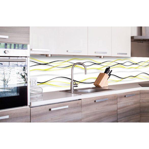 Sárga fekete hullámok, konyhai matrica hátfal, 260 cm