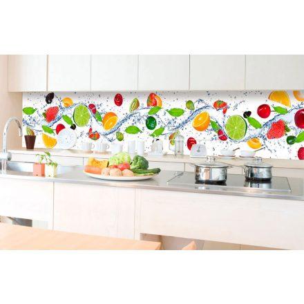 Gyümölcsök, konyhai matrica hátfal, 350 cm