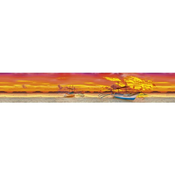 Hajók naplementében, konyhai matrica hátfal, 350 cm