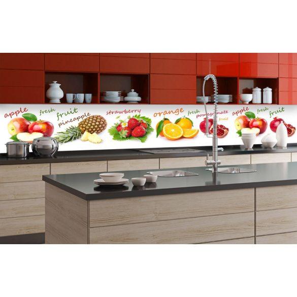 Gyümölcs mix, konyhai matrica hátfal, 350 cm