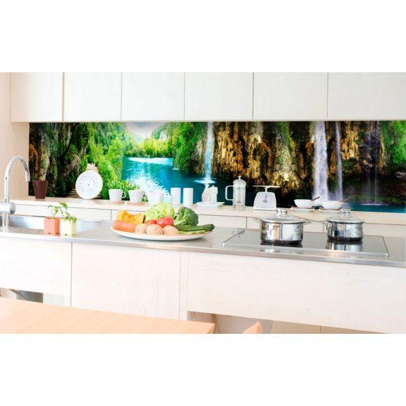 Sziklás vízesések, konyhai matrica hátfal, 350 cm
