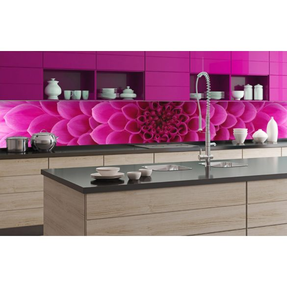 Rózsaszín virág, konyhai matrica hátfal, 350 cm