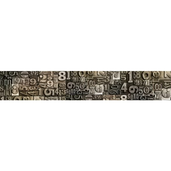 Fém számok, konyhai matrica hátfal, 350 cm