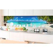 Pálmafás tengerpart, konyhai matrica hátfal, 350 cm