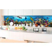 Trópusi akvárium, konyhai matrica hátfal, 350 cm