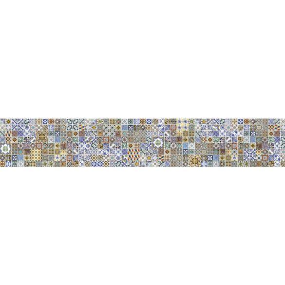 Színes csempeminta, konyhai matrica hátfal, 350 cm