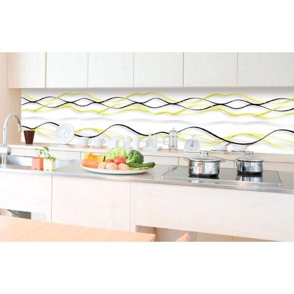 Sárga fekete hullámok, konyhai matrica hátfal, 350 cm