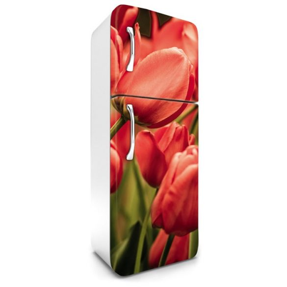 Piros tulipánok, hűtőszekrény matrica, 180 cm