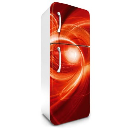 Piros absztrakt, hűtőszekrény matrica, 180 cm
