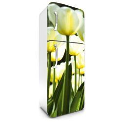 Fehér tulipánok, hűtőszekrény matrica, 180 cm