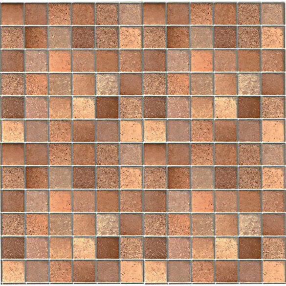 Barna mozaik - ezüst fuga mintás 3D öntapadós tapéta a Dekormatricák Webáruházban