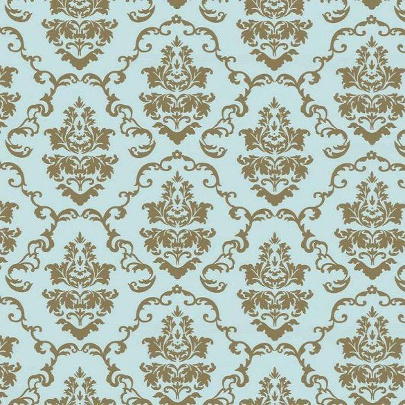 Kék-arany barokk mintás öntapadós tapéta