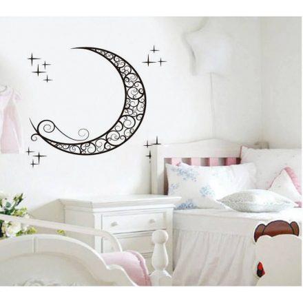 Nonfiguratív hold csillagokkal, falmatrica