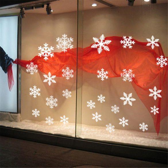 Karácsonyi hópelyhek, matrica kirakatra vagy ablakra a Dekormatricák webáruhánál