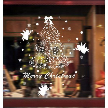 Karácsonyfa hópelyhekből, dekorációs matrica ablakra vagy kirakatra - Dekormatricák Webáruház