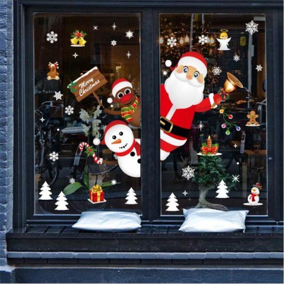 Télapó és barátai, karácsonyi dekorációs matrica ablakra vagy kirakatra - Dekormatricák Webáruház