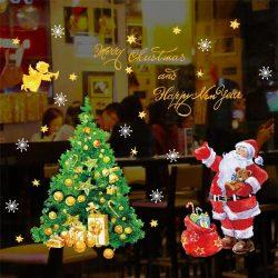 Mikulás karácsonyfával, dekorációs matrica ablakra vagy kirakatra - Dekormatricák Webáruház