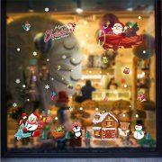 Mikulás repülővel, karácsonyi dekorációs matrica ablakra vagy kirakatra - Dekormatricák Webáruház