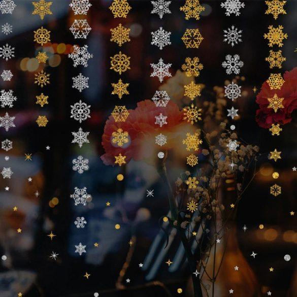 Ezüst hópelyhek, karácsonyi dekorációs matrica ablakra - Dekormatricák Webáruház
